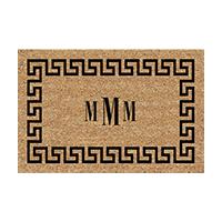 Greek Key Rectangular Monogram Welcome Mat